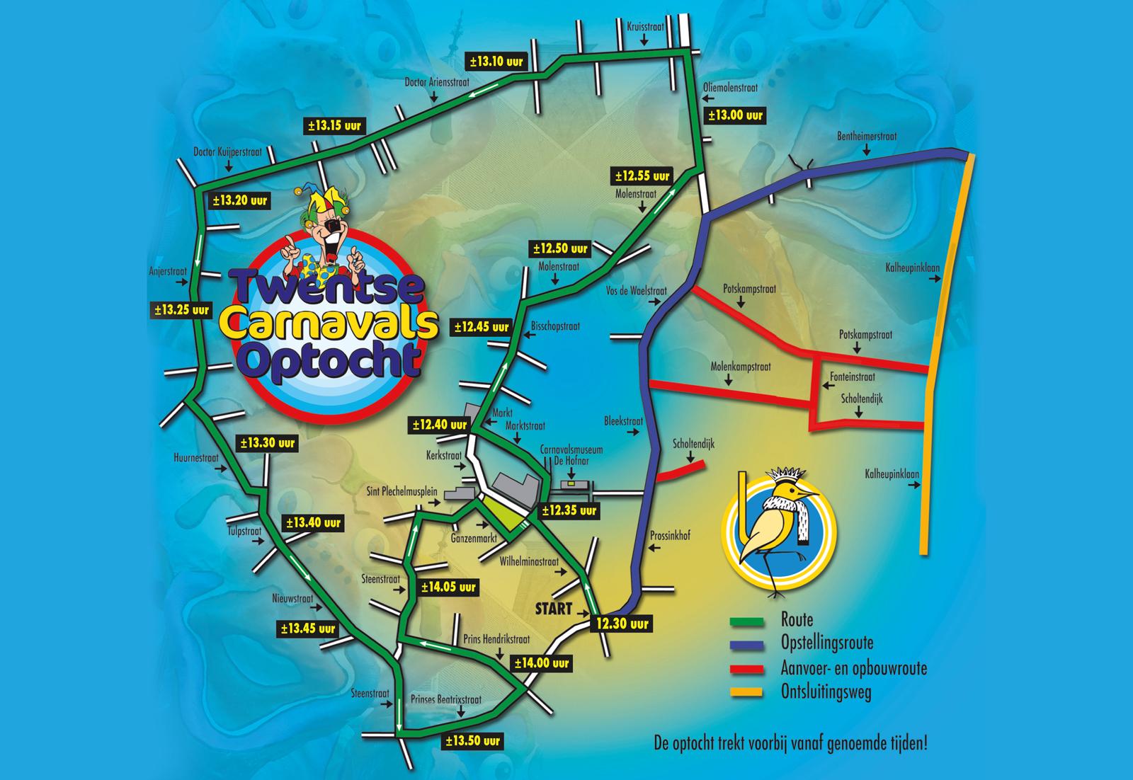 optocht oldenzaal - Grote Twentse Carnavalsoptocht 2017 route
