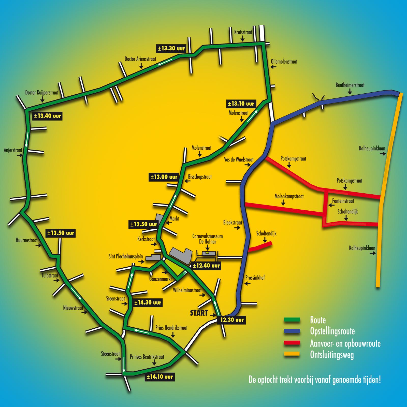 De route van de Grote Twentse Carnavalsoptocht 2019 in Oldenzaal | Boeskoolstad