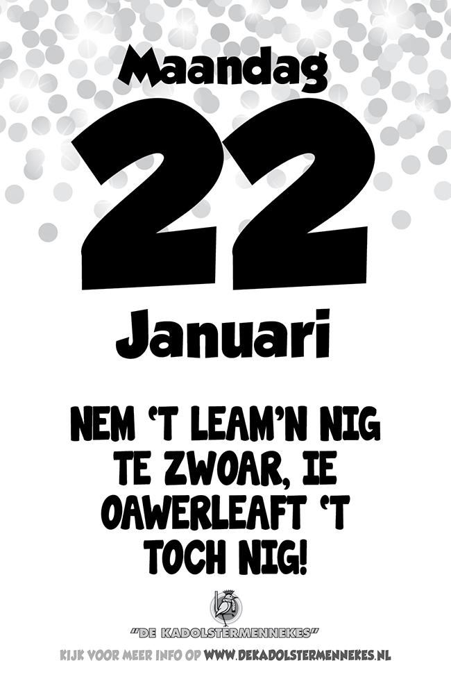 Skeurkalender Kadolstermennekes maandag 22 januari 2018 (Kadolster Skeurkalender van maandag 22 januari 2018)