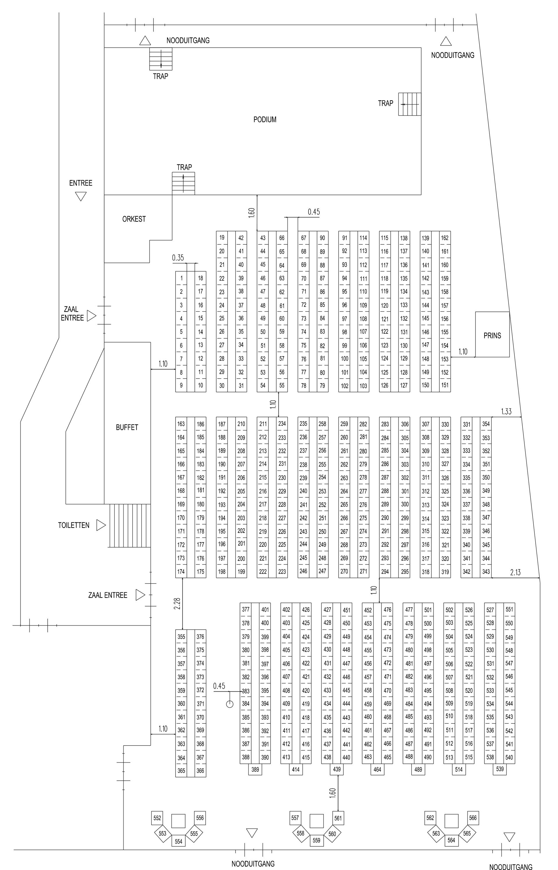 Overzicht van de zitplaatsen en stoelnummers bij het Kadolstergala