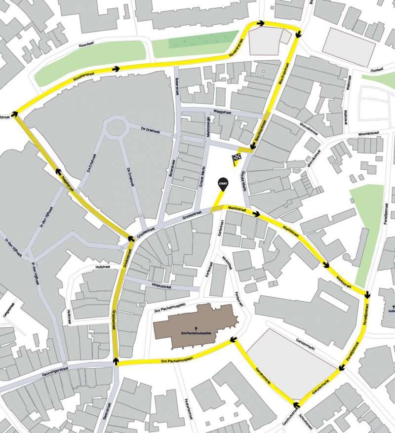 De route van de kinderoptocht van het Kuuk'n Festival