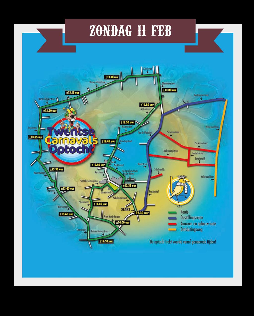 Route Grote Twentse carnavalsoptocht 2018
