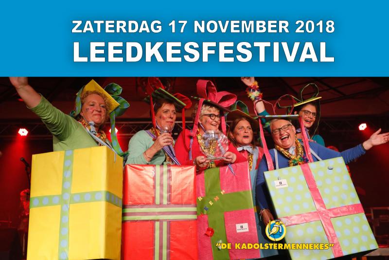 Leedkesfestival op zaterdag 17 november 2018