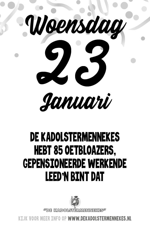 Skeurkalender Kadolstermennekes woensdag 23 januari 2019 (vandaag is het woensdag 23 januari 2019)