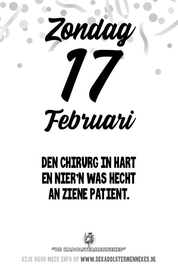 Skeurkalender Kadolstermennekes zondag 17 februari 2019 (vandaag is het zondag 17 februari 2019)
