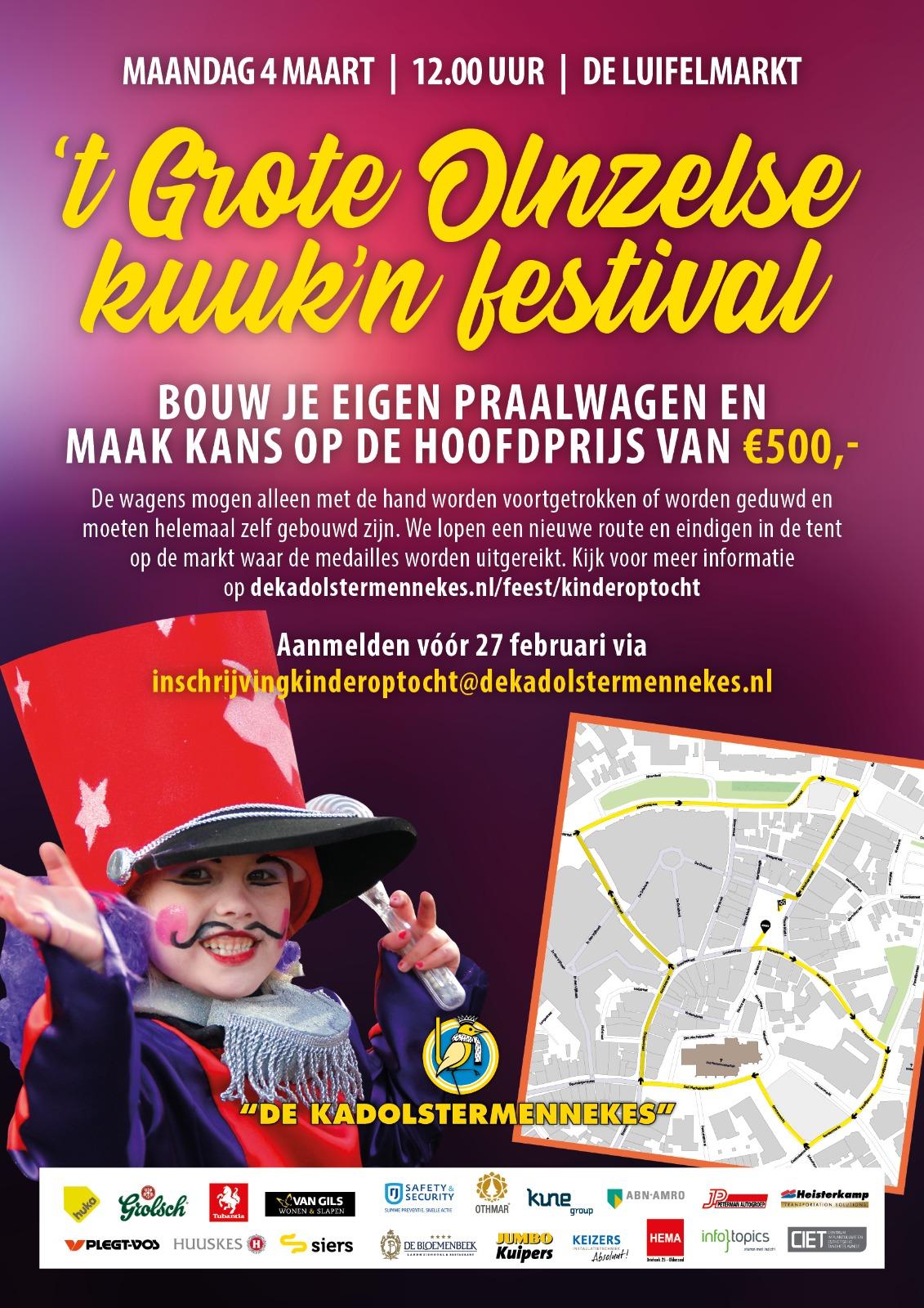 Win prijzen in de kinderoptocht van 't Grote Olnzelse Kuuk'n festival 2019