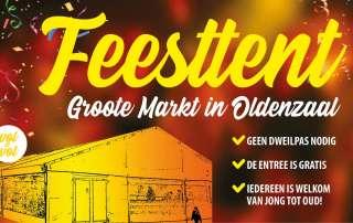 Feesttent Groote Markt Oldenzaal voor Jong en Oud Carnaval in de Boeskoolstad